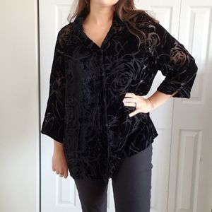 Vintage Size 16 Velvet Black Blouse Burnout Top